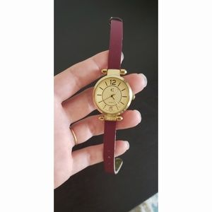Charming Charlie Gold Watch Burgundy Maroon Strap
